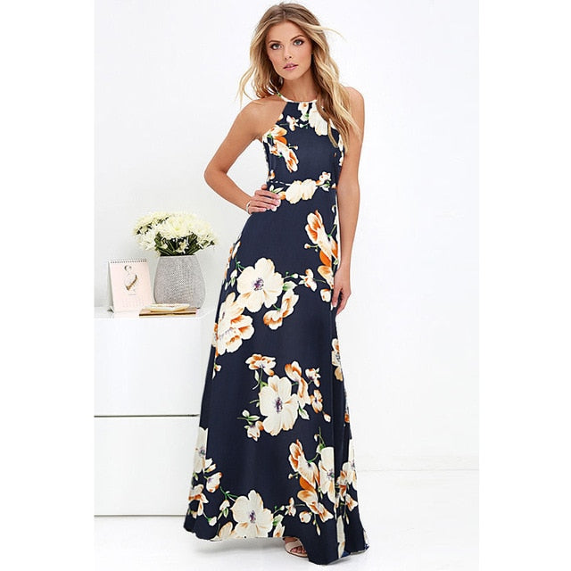 Women's Maxi Boho Halter Neck Floral Print Dress