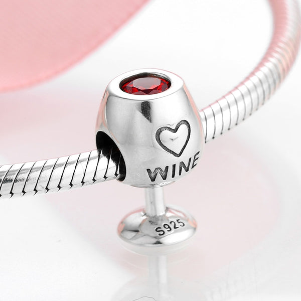 Sterling Silver 925 CZ Red Wine Cup Charm Fit Original Pandora Bracelet
