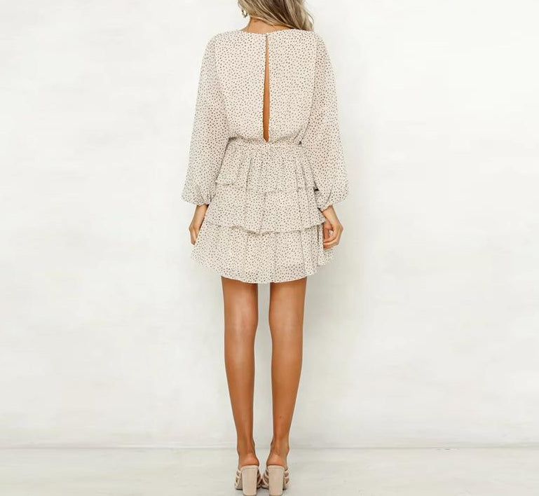 Women's Peep Back  Mini Dress with Long Sleeves