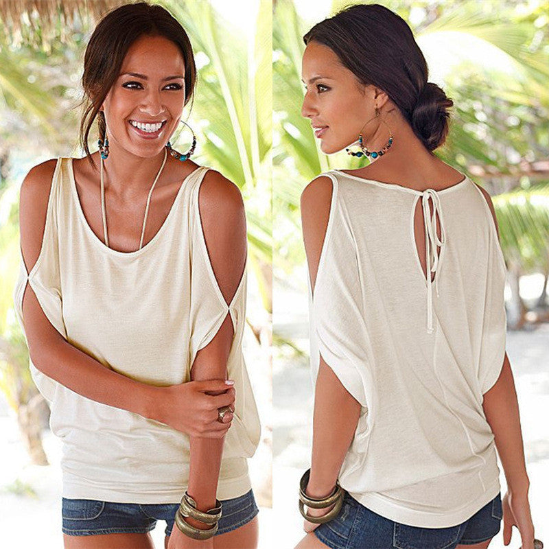Women Off Shoulder Batwing Short Sleeve Top