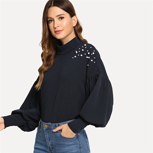 Women's Navy Elegant Preppy Mock Neck Pearl Embellished Sweatshirt