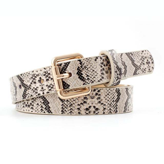 Women's Leather Snake Print Belt