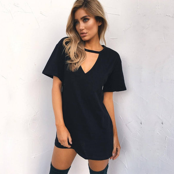Women's V-Neck Cotton Long T-Shirt