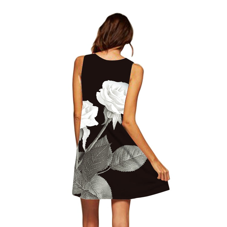 Women's Rose Print Sleeveless Summer Dress