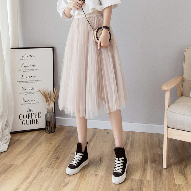 Women's Tulle Pleated Elastic Waist Skirt