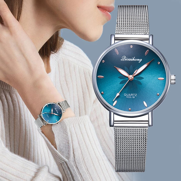 Women's Silver Mesh Flower Dial Wristwatch