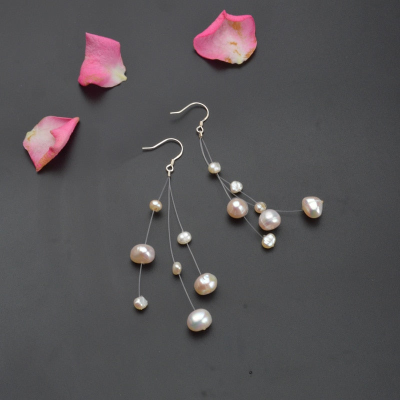 Women's White Natural Freshwater Baroque Pearl Earrings