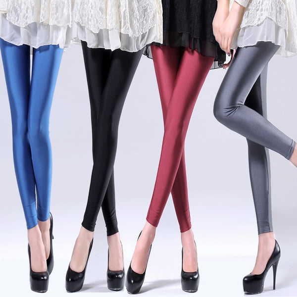 Women's Solid Color Fluorescent Shiny Leggings