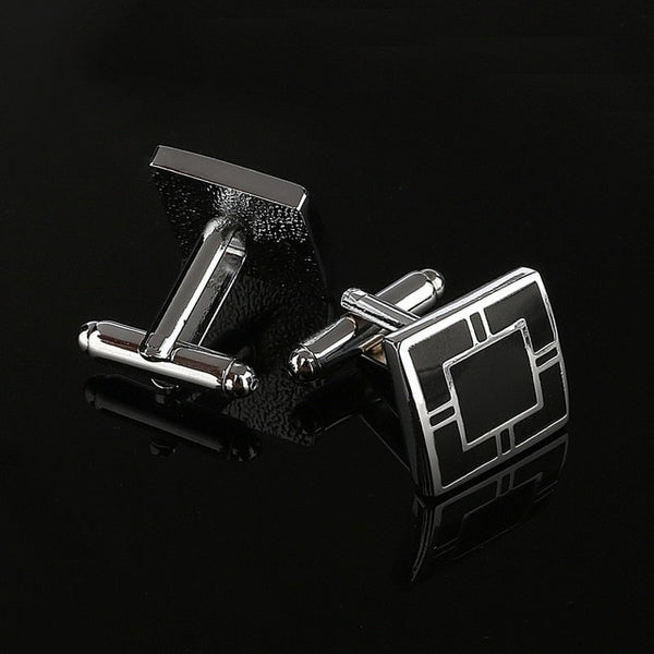 Men's Simple Style Black Rectangle Cufflinks