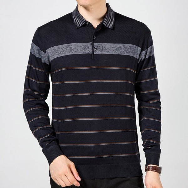 Men's Long Sleeve Polo Striped Shirt