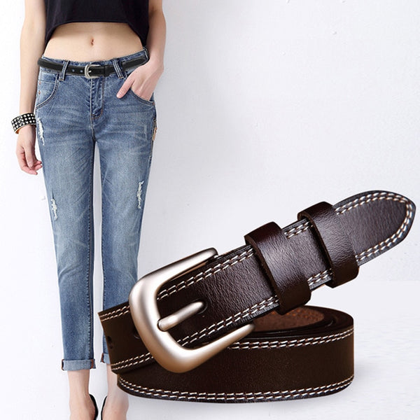 Women's Genuine Leather Vintage Style Pin Buckle Belt