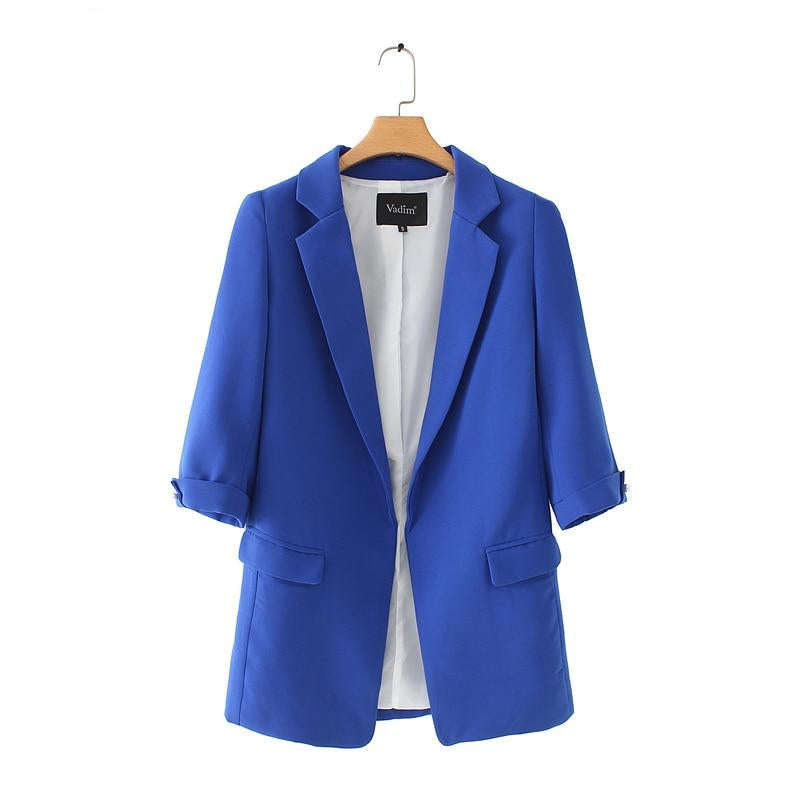 Women's Notched Collar Solid Color Blazer