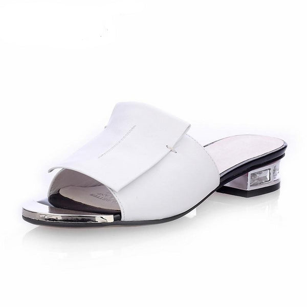 Women's Square High Heel Leather Slides