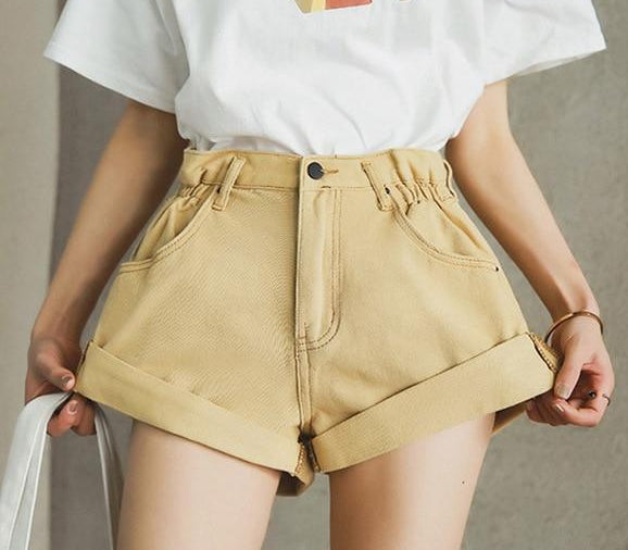 Women's Vintage Style High Waist Denim Shorts