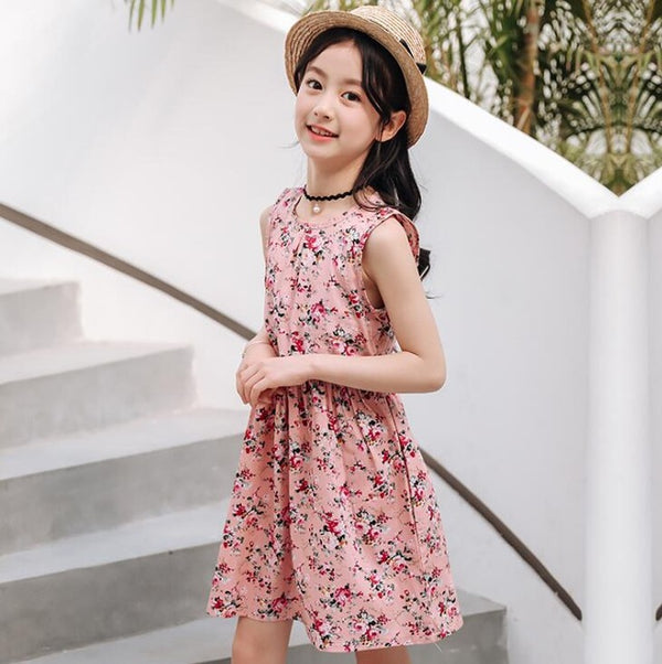 Kid's Girls Summer Bohemia Style Floral Print Beach Dress