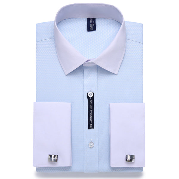 Men's  Business Casual Long Sleeve French Cuff Dress Shirt