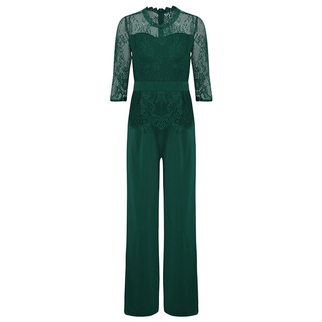 Women's Lace Elegant Wide Leg Jumpsuit