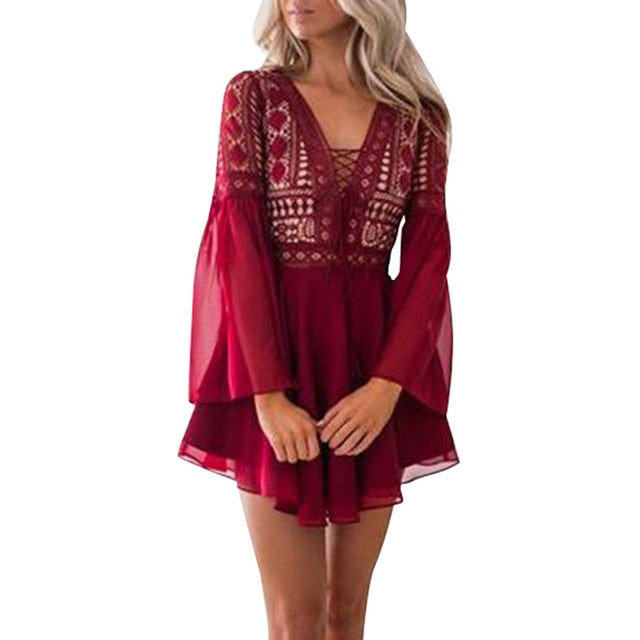 Women's Chiffon Lace Semi Sheer Mini Dress