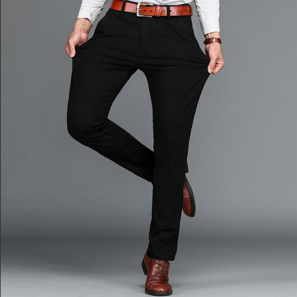 Men's Classic Business Casual Stretch Fit Straight Pants