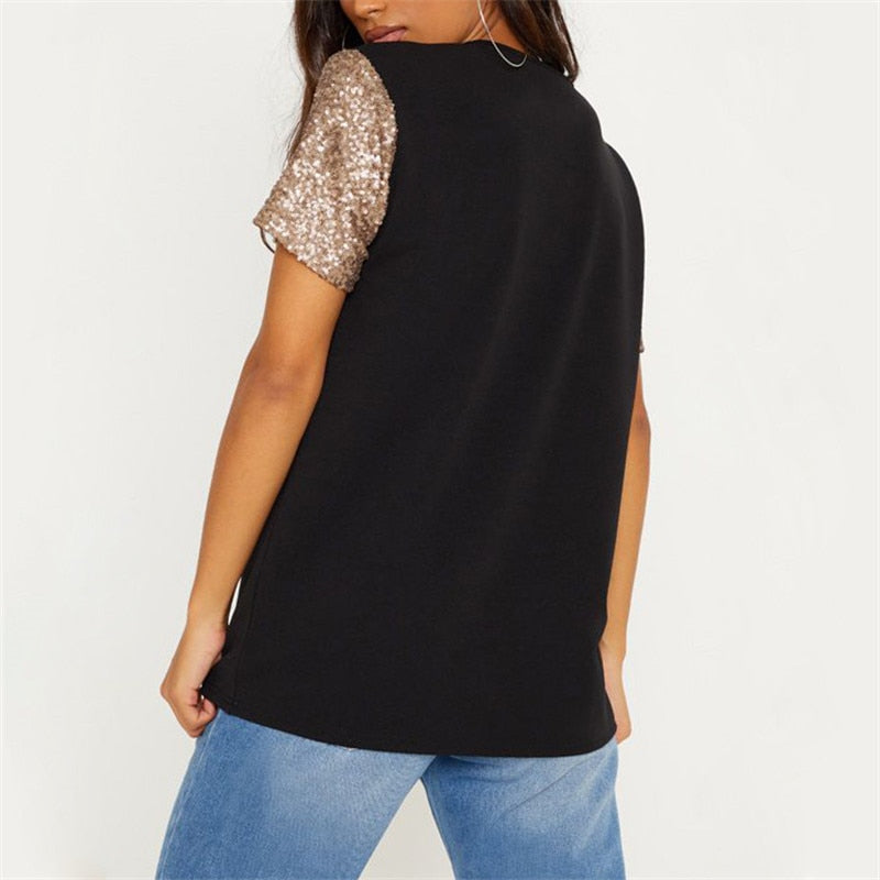 Women's Sequined Sleeve O-Neck T-shirt