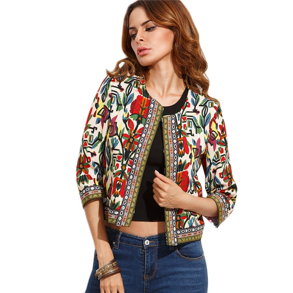 Women's Embroidery Tribal Print Jacket