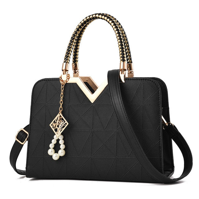 Women's Shoulder Crossbody Bag with Gold Accent