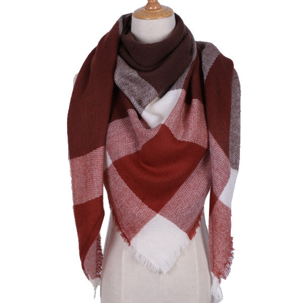 Women's Plaid Triangle Scarf