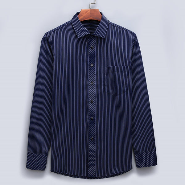 Men's Business Long Sleeved Classic Striped Shirt