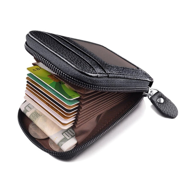Men's Genuine Leather Credit Card Holder RFID Blocking Zipper Wallet