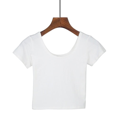 Women's Crop Top Short Sleeve O-Neck Top