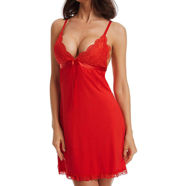 Women's Sleeveless Lace V-Neck Nightgown