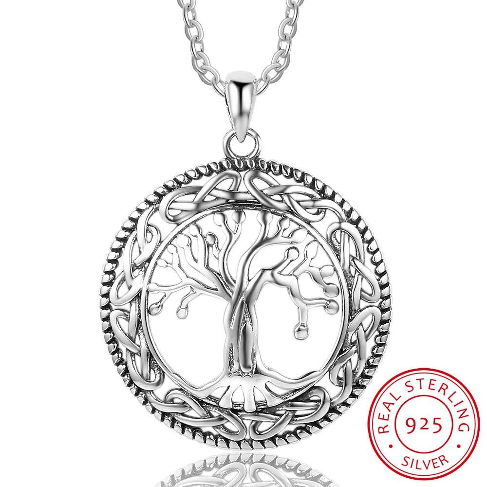 Women's Vintage 925 Sterling Silver Tree of Life Round Pendant Necklace