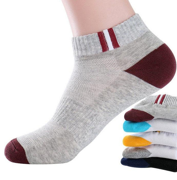 Men's Classic Patchwork Mesh Breathable Cotton Socks 5 Pairs