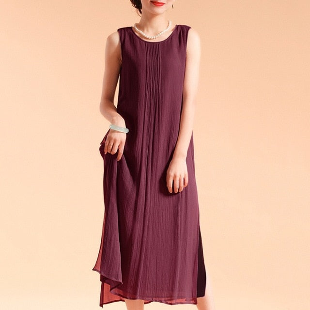 Women's Summer Boho Linen Sleeveless Dress