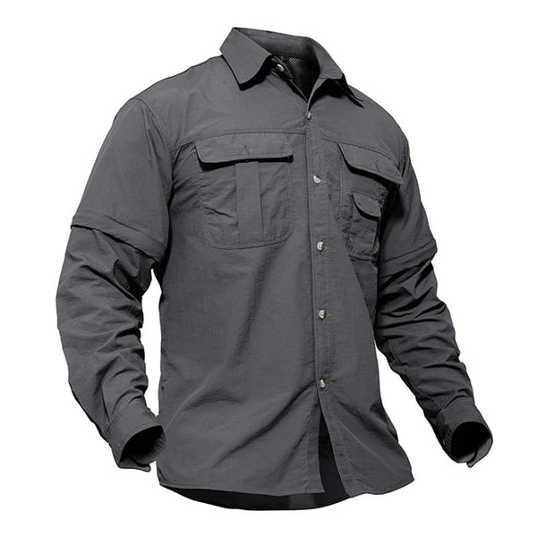 Men's Military Lightweight Quick-Dry Tactical Army Shirt with Removable Long Sleeve