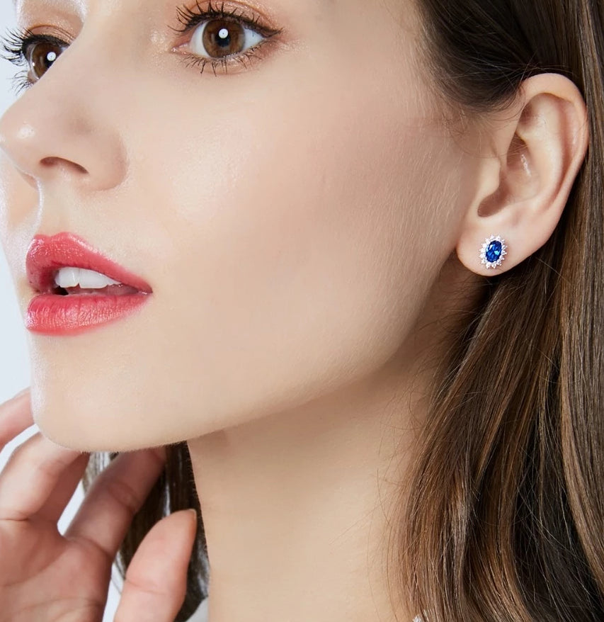 Women's Natural Birthstone Sterling Silver Royal Blue Oval Topaz Stud Earrings