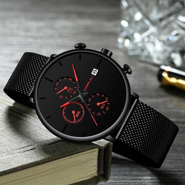 Men's Quartz Waterproof Slim Mesh Band Watch