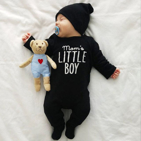 Kid's Baby Boys Long Sleeve Onesie Mom's Little Boy