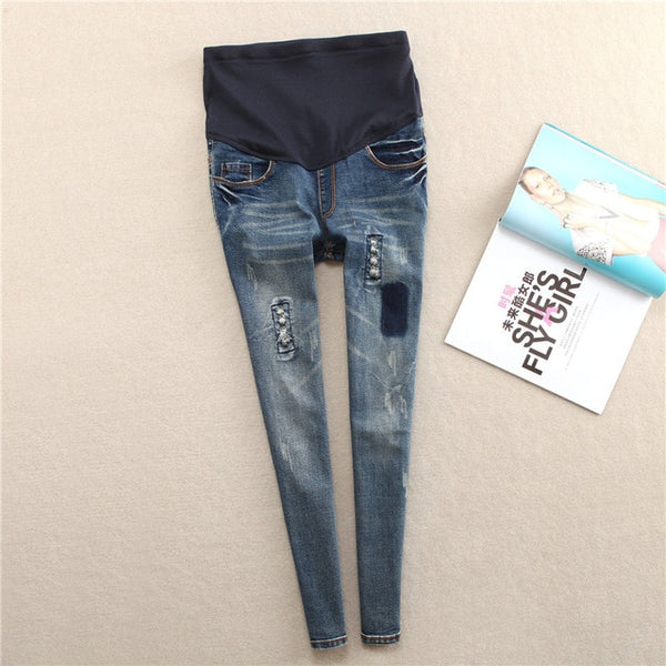 Women's Elastic Waist Denim Maternity Denim Belly Jeans