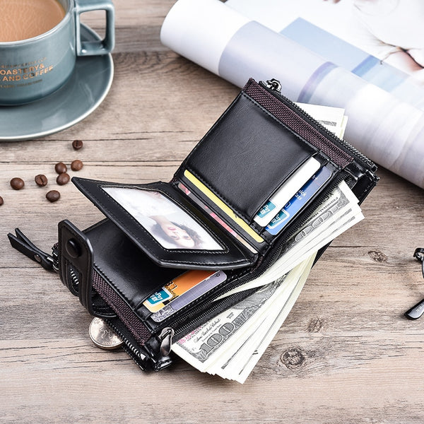 Men's Double Zipper & Snap Design Wallet