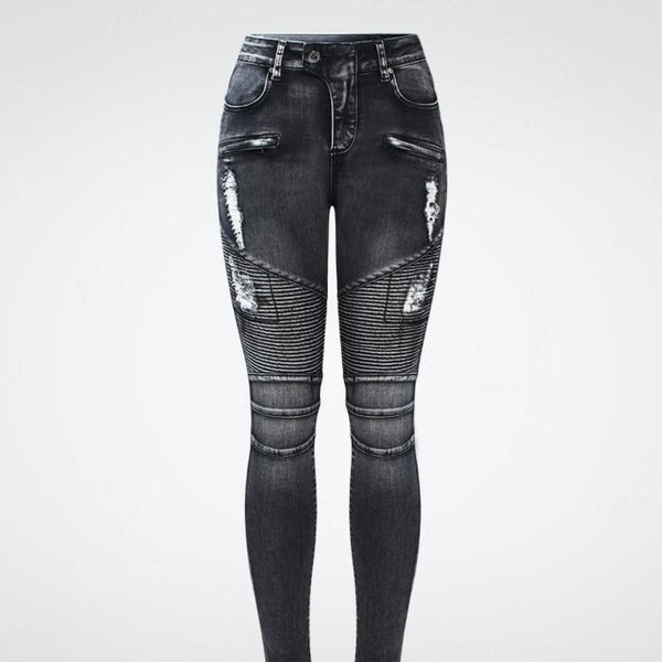 Women's Black Motorcycle Biker Jeans