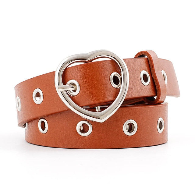 Women's Leather Heart Belt with Accent