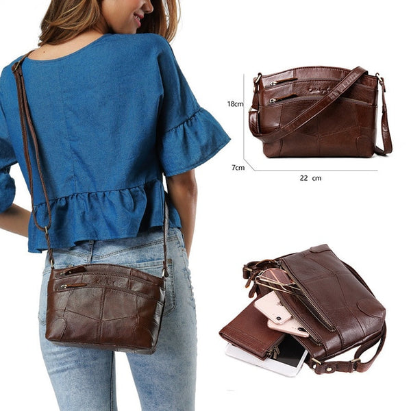 Women's Multi Pocket Vintage Genuine Leather Bag