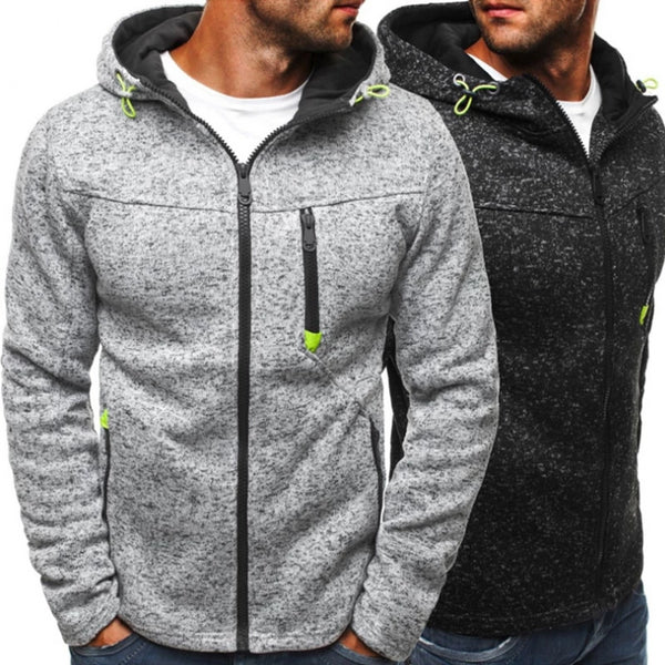 Men's Sports Casual Wear Zipper Jacquard Fleece Hoodie