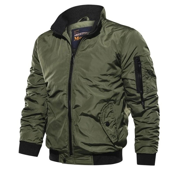 Men's Bomber Solid Zipper Pilot Jacket