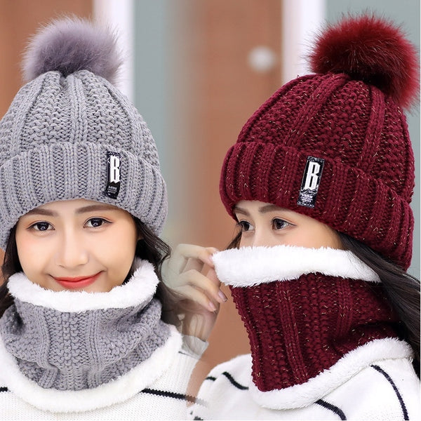 Women's knitted Beanies and Thick Warm Neck Scarf Set