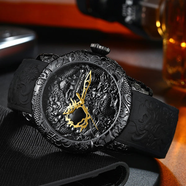 Men's Gold Dragon Sculpture Quartz Watch
