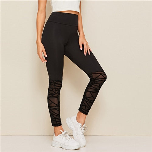 Women's Flocked Mesh Hem Skinny Leggings