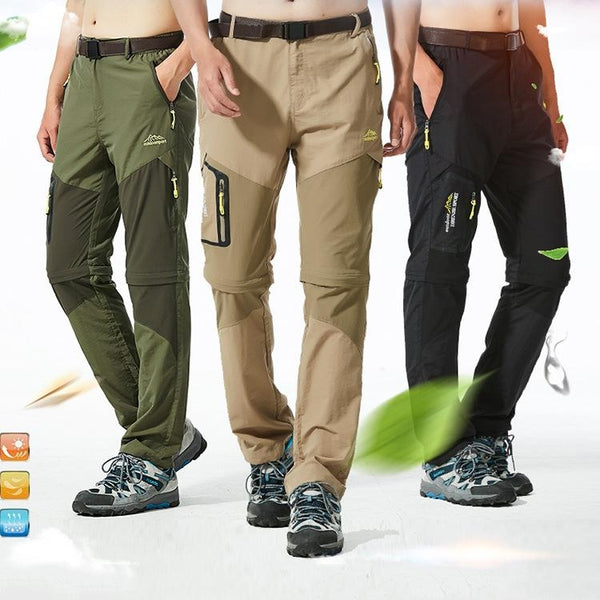 Men's Quick-Dry Tactical Cargo Pants with Transformable Short Zippers