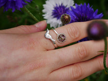 Load image into Gallery viewer, Highland heather magpie detail sterling silver adjustable ring